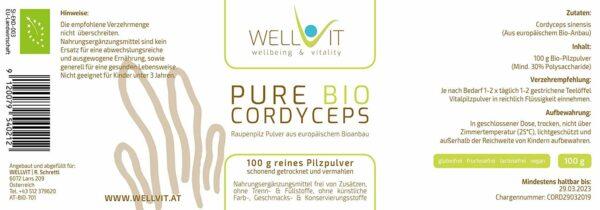 Bio Raupenpilz Cordyceps Pulver
