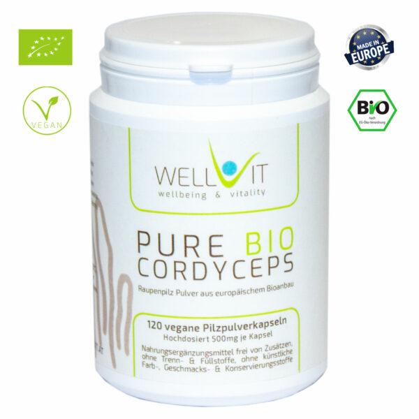 Pure Bio Raupenpilz 120 Kapseln je 500mg Cordyceps sinensis