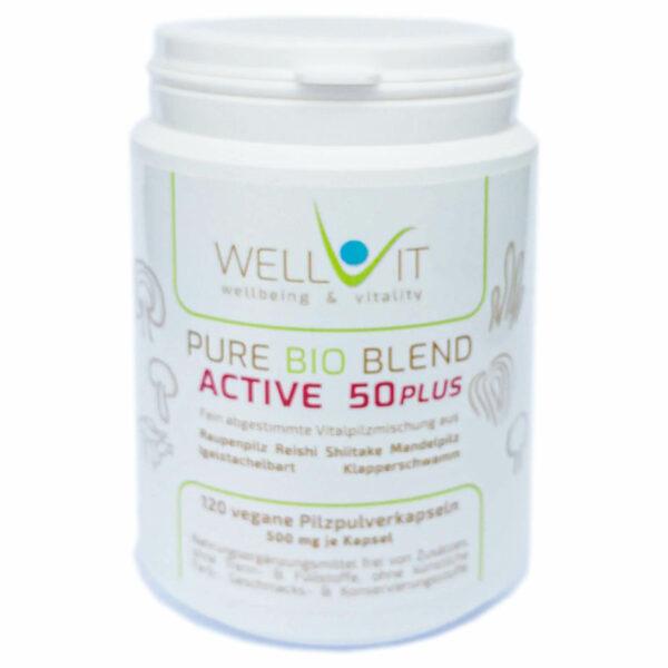 Pure Bio Blend Active 50plus 120 Kapseln je 500mg Vitalpilzmischung aus Raupenpilz Igelstachelbart Reishi Mandelpilz Klapperschwamm Shiitake