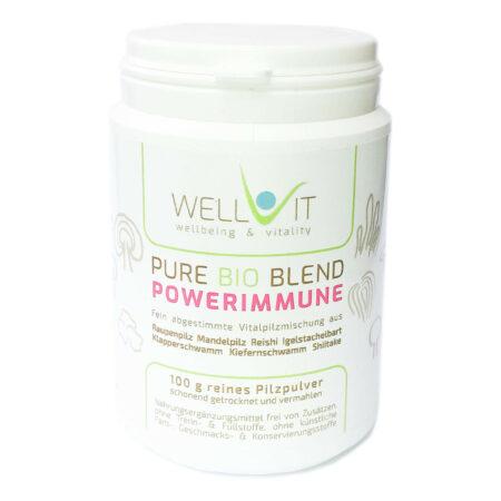 Pure Bio Blend Powerimmune 100g Vitalpilzmischung aus Raupenpilz Reishi Shiitake Igelstachelbart Klapperschwamm Kiefernschwamm Mandelpilz