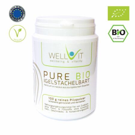Pure Bio Igelstachelbart 100g Hericium erinaceus Vitalpilzpulver