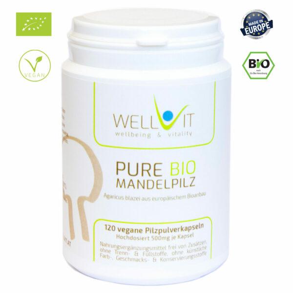 Pure Bio Mandelpilz ABM 120 Kapseln je 500mg Agaricus blazei