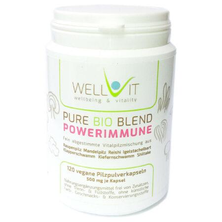 Pure Bio Blend Powerimmune 120 Kapseln je 500mg Raupenpilz Reishi Shiitake Igelstachelbart Klapperschwamm Kiefernschwamm Mandelpilz