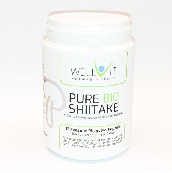 Pure Bio Shiitake 120 Kapseln je 500mg Lentinula edodes Vitalpilzpulver aus EU-Bio-Landwirtschaft, vegan, ohne künstliche Zusatzstoffe